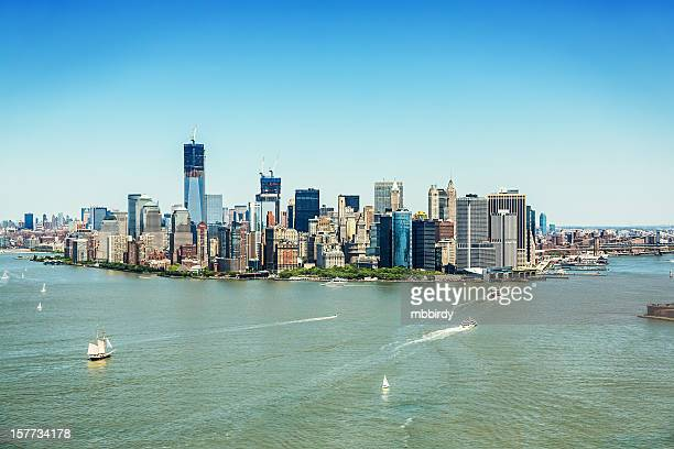 lower manhattan skyline financial district, new york - prosperity stock pictures, royalty-free photos & images