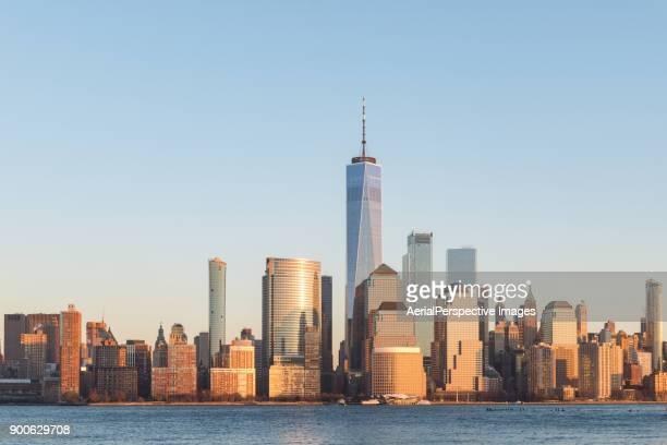 Lower Manhattan skyline, New York skyline at Sunset