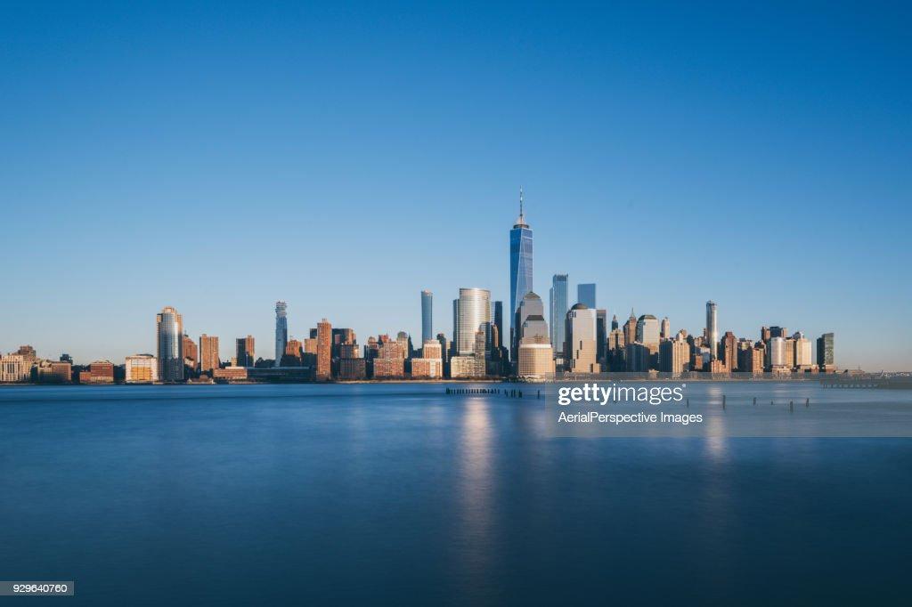 Lower Manhattan skyline, New York skyline at Sunset : Stock Photo