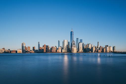 Lower Manhattan skyline, New York skyline at Sunset - gettyimageskorea