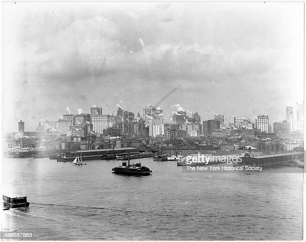 Lower Manhattan skyline south of Brooklyn Bridge South Street to the docks New York New York 1895 Fulton Fish Market visible