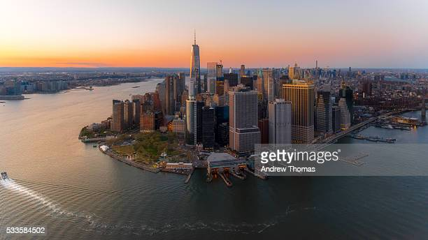 lower manhattan sunset - lower manhattan stock pictures, royalty-free photos & images