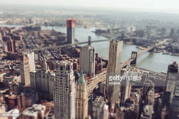 lower manhattan. two bridges, brooklyn bridge, manhattan bridge - queens new york city stock pictures, royalty-free photos & images