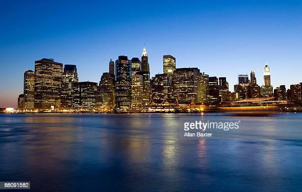 Lower Manhatten at dusk from Brooklyn