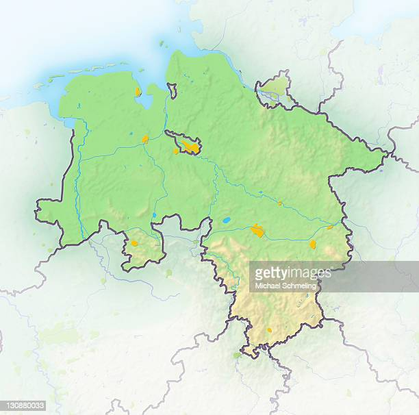 Lower Saxony, Germany, shaded relief map
