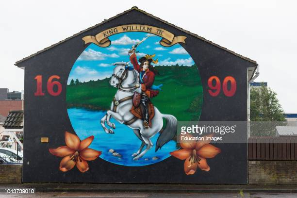 Lower Shankill Belfast Protestant Loyalist mural celebrating William of Oranges victory at the Battle of the Boyne in 1690