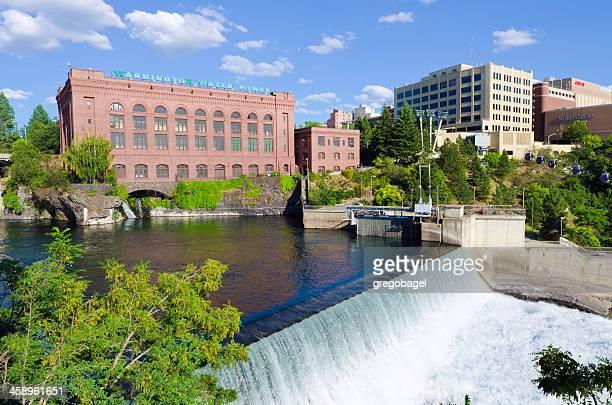 lower spokane falls in washington state - spokane stock pictures, royalty-free photos & images
