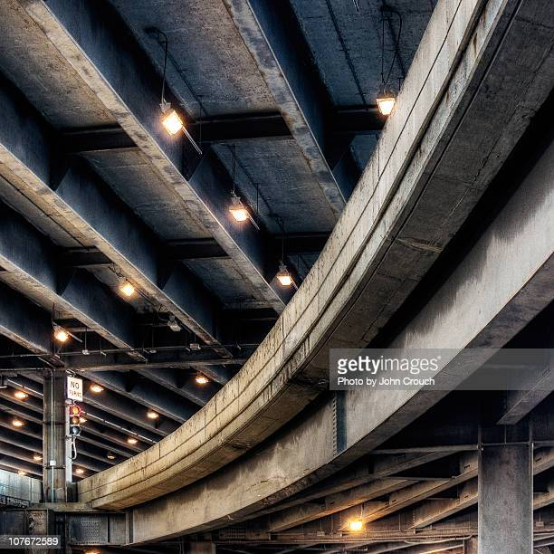 lower wacker drive at lake shore drive - wacker drive stock photos and pictures