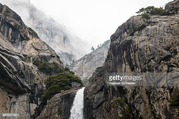 Lower Yosemite falls in clouds