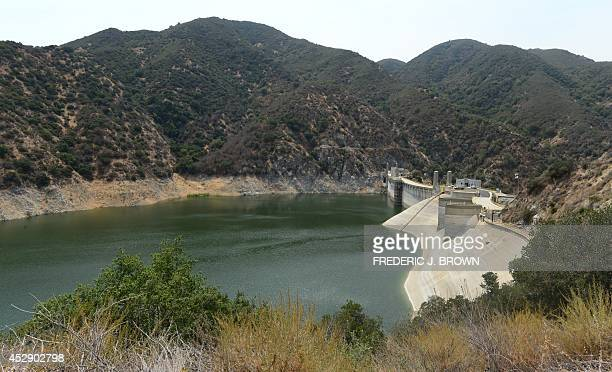 A lowering water level can be seen at Morris Dam which holds back the San Gabriel River in the San Gabriel Mountains north of Azusa and east of Los...