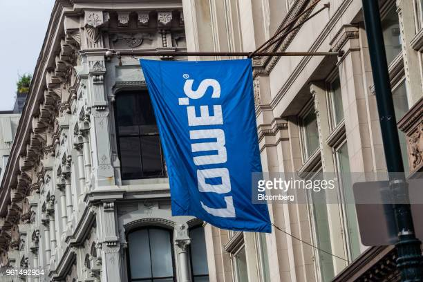 Lowe's Cos signage hangs on display outside a store in New York US on Tuesday May 22 2018 Lowe's Cos is scheduled to release earnings figures on May...