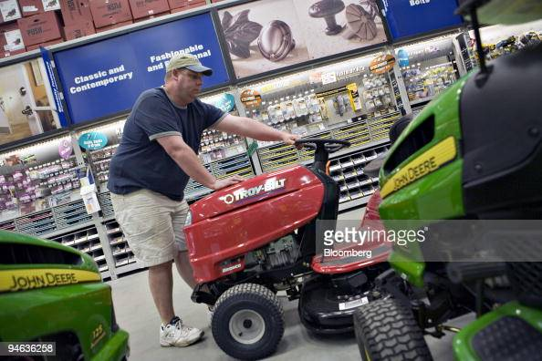 Lowe S Employee Finn Johansen Positions A Lawn Tractor Inside A News Photo Getty Images