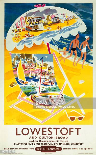 Lowestoft and Oulton Broad' BR 1960 Poster produced for British Railways Eastern Region promoting the Suffolk seaside resort of Lowestoft and nearby...