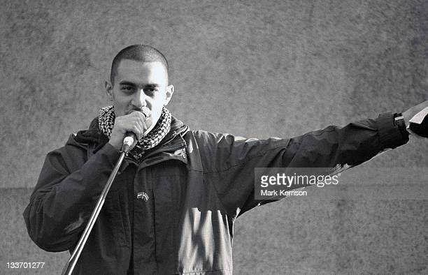 Lowkey MC addressing the Troops Out Of Afghanistan rally in Trafalgar Square on 24th October 2009.