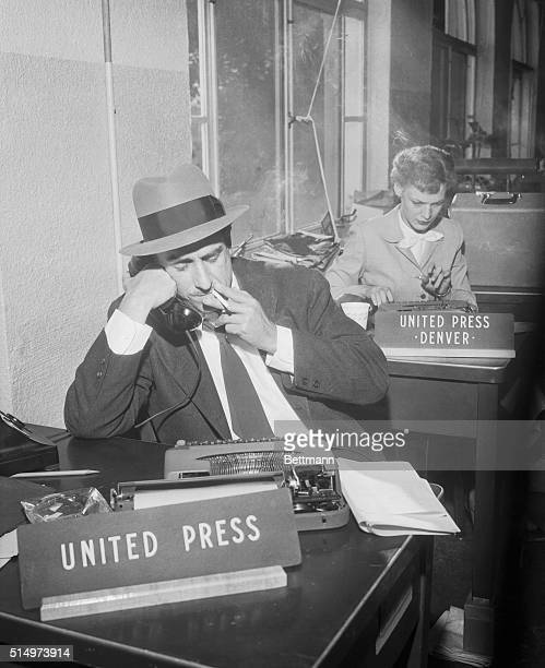Lowry Air Force Base Colorado Merriman Smith United Press White House reporter phones in a story from the suner White House here Sept 27th after...
