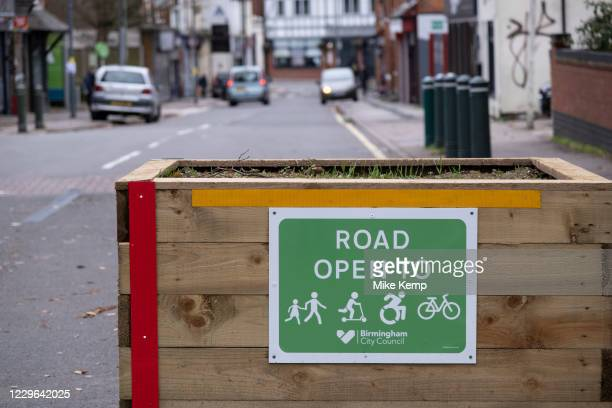 Low-traffic neighbourhood barriers put in place in Kings Heath on 16th November 2020 in Birmingham, United Kingdom. These traffic restrictions, many...
