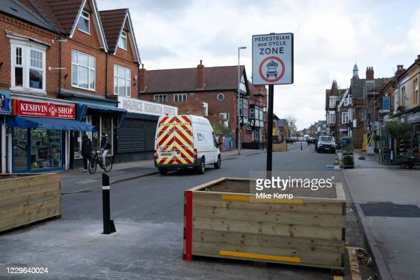 Low-traffic neighbourhood barriers put in place in Kings Heath on 20th October 2020 in Birmingham, United Kingdom. These traffic restrictions, many...