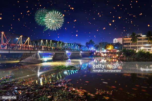 Loy Krathong festival at iron bridge, Chiangmai, Thailand