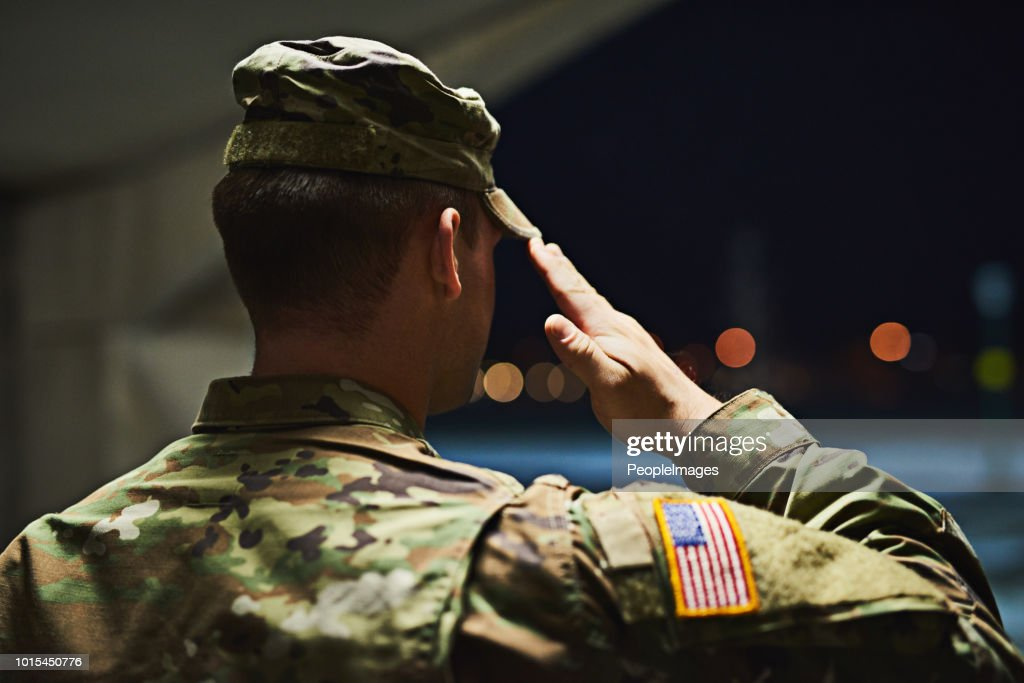 Loyal is the soldier who loves his country : Stock Photo