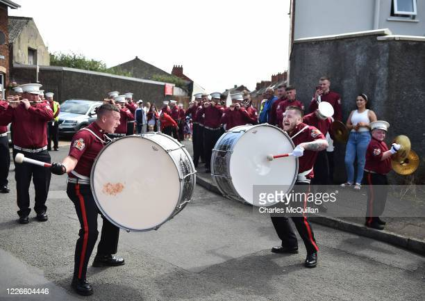Loyalist and protestant band members take part in a socially distanced Twelfth parade on the Shankill road on July 13, 2020 in Belfast, Northern...