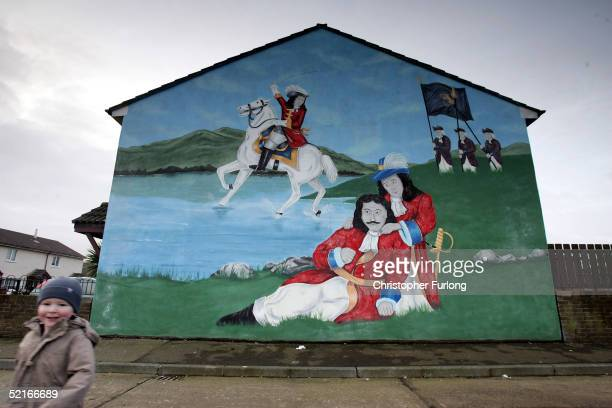 A loyalist mural of King William of Orange is seen on February 9 2005 in the Shankill area of West Belfast Northern Ireland Northern Ireland has...