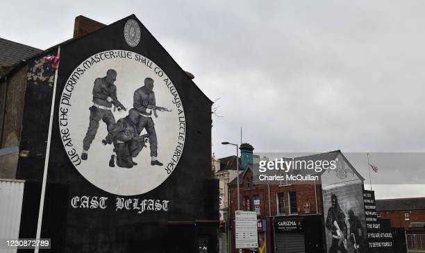 Loyalist paramilitary mural is displayed on the Newtownards road on January 30, 2021 in Belfast, Northern Ireland. The Police Service of Northern...