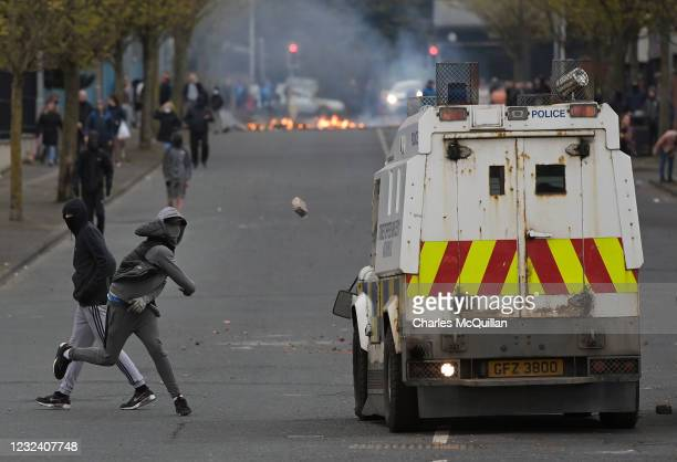 Loyalists clash with police on Lanark Way as they restart their protests against the Irish sea border and the NI Protocol on April 19, 2021 in...