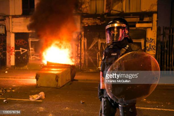 Loyalists engage in violent unrest on April 2, 2021 in Belfast, Northern Ireland. Around 100 people had gathered Friday evening when bricks, bottles...