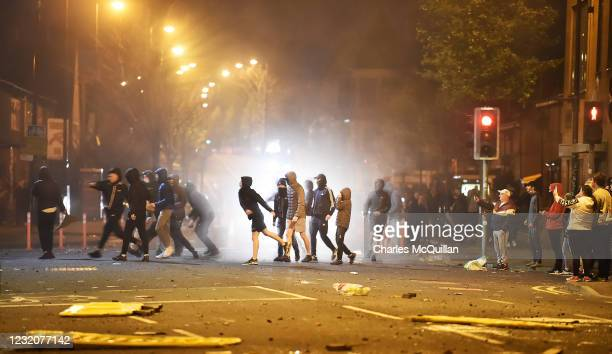 Loyalists engage in violent unrest on April 2, 2021 in Belfast, Northern Ireland. Around 100 people had gathered Friday evening, when bricks, bottles...