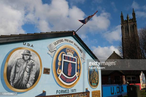 Loyalists paramilitary murals seen near the old shipyard on the Newtownards Road on October 29 2019 in East Belfast United Kingdom