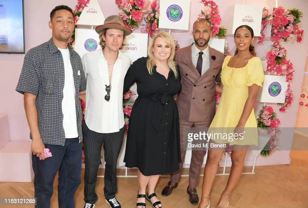 Loyle Carner, Dougie Poynter, Rebel Wilson, Marvin Humes and Rochelle Humes attend the evian Live Young suite at The Championships, Wimbledon 2019 on...