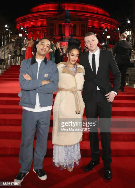 Loyle Carner Jorja Smith and Professor Green attend The Fashion Awards 2017 in partnership with Swarovski at Royal Albert Hall on December 4 2017 in...