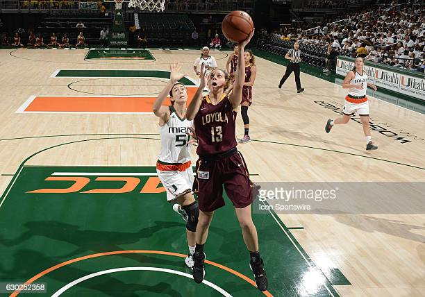 Loyola guard/forward Katie Salmon shoots during an NCAA basketball game between Loyola Chicago University Ramblers and the University of Miami...