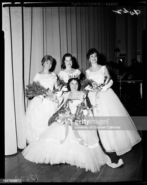Loyola Homecoming Queen 30 November 1959 Mary Ann Fashing 18 years Joe Dunnigan Mary Ann Kenney Jo Lynn Sargent Betty Sitter Caption slip reads...