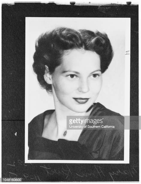 Loyola Marymount University homecoming 9 November 1951 Mary FramptonMary Ann KurtBebbe VerdunMary McGuaidCaption slip reads 'Photographer Ray Parker...