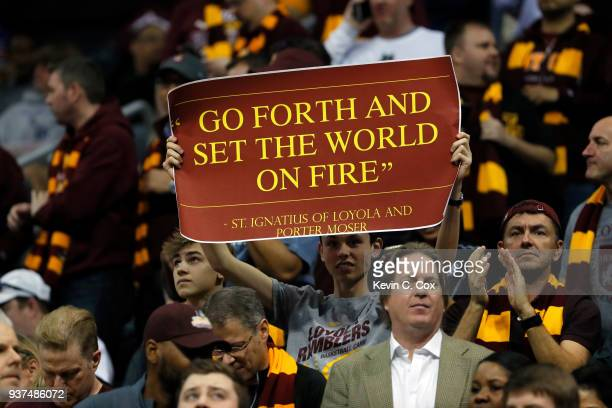 Loyola Ramblers fan holds up a sign prior to the 2018 NCAA Men's Basketball Tournament South Regional between the Kansas State Wildcats and the...