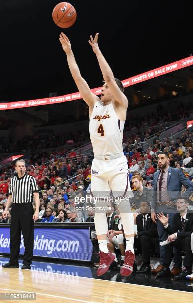 Loyola Ramblers guard Bruno Skakna puts up a threepoint shot during a Missouri Valley Conference Basketball Tournament game between the Loyola...