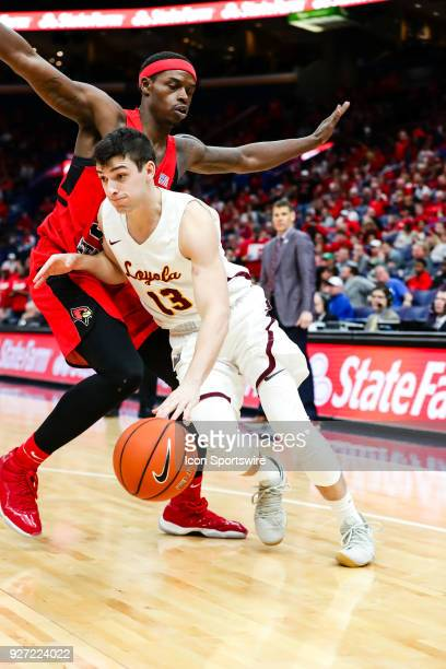 Loyola Ramblers guard Clayton Custer right drives on Illinois State Redbirds forward Milik Yarbrough during the second half of a Missouri Valley...