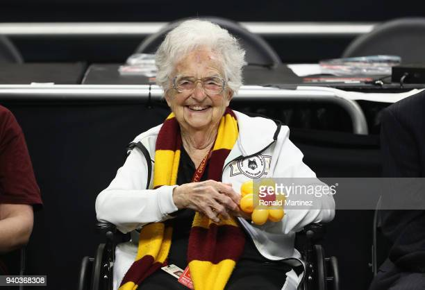 Loyola Ramblers team chaplain Sister Jean Dolores-Schmidt looks on before the 2018 NCAA Men's Final Four Semifinal against the Michigan Wolverines at...