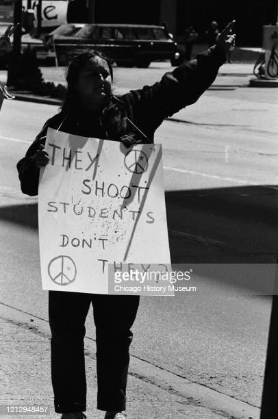 Loyola University students on strike following the Kent State University shootings, Chicago, Illinois, May 6, 1970.