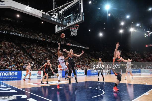Loys Kalis of Charleville and Alexia Chartereau of Bourges during the French Final Cup match between Charleville and Bourges at AccorHotels Arena on...