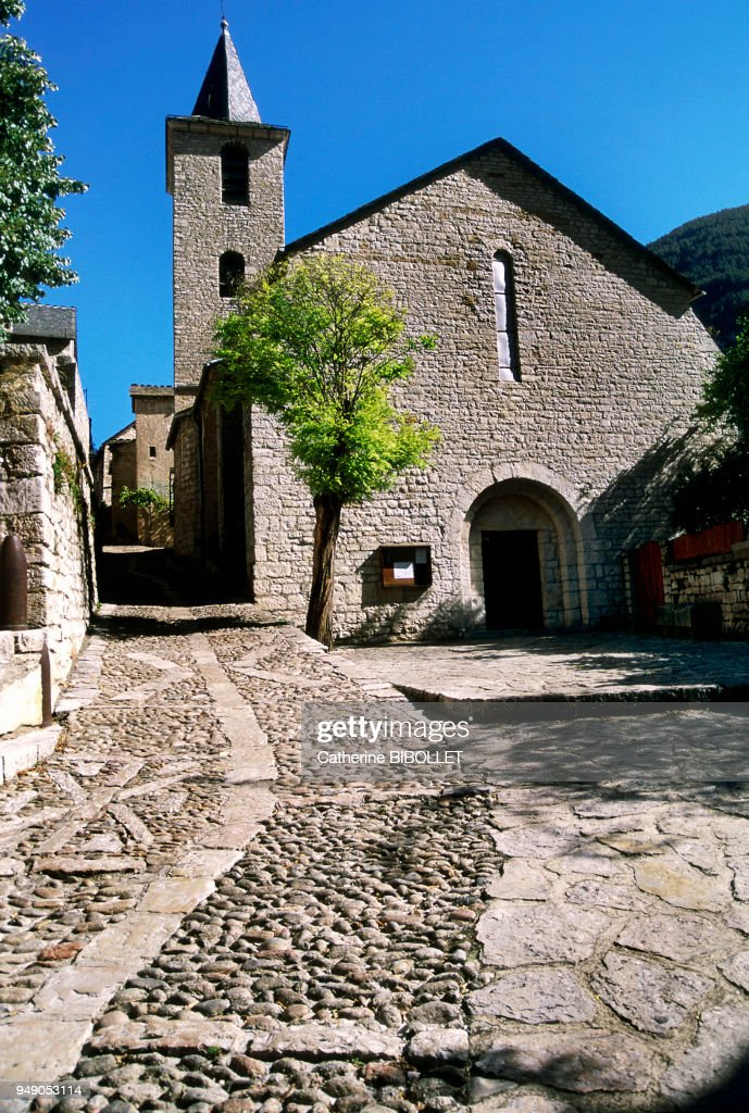 a Roman style church in Sainte-Enimie, a small village in the Gorges ...