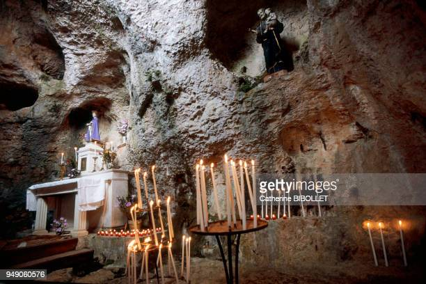 the Grotte de l'Ermitage in Sainte Enimie in the Gorges du Tarn According to legend the Merovingian Princess Enimie established herself there to...