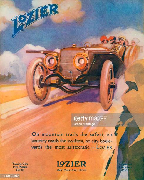 """A Lozier automobile dashing down a road is shown in a magazine advertisement from 1912 The ad states """"On mountain trails the safest on country roads..."""
