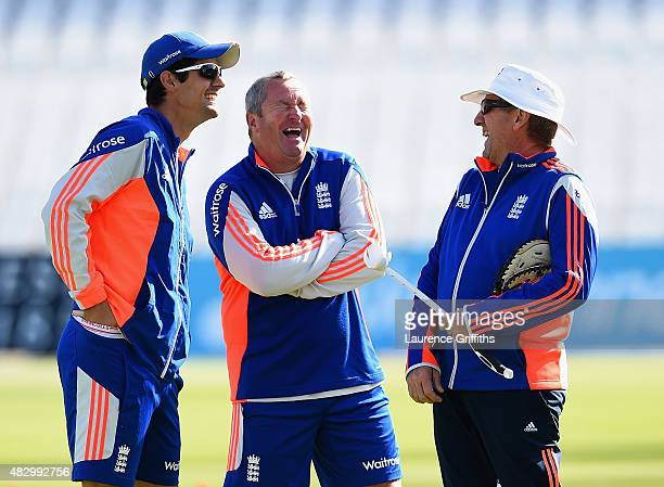 lr Alastair Cook Paul Farbrace and Trevor Bayliss of England share a joke during a nets session ahead of the 4th Investec Ashes Test match between...