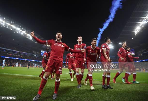 lr Alex OxladeChamberlain Andy Robertson Roberto Firmino Trent AlexanderArnold Virgil Van Dijk and goal scorer Mohamed Salah of Liverpool celebrate...