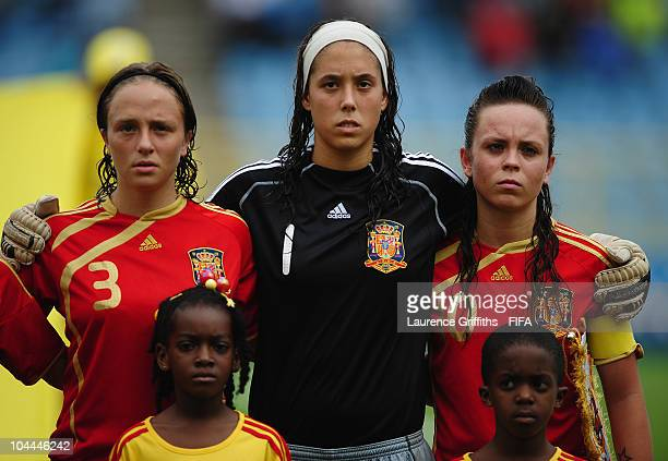 lr Ana Maria Catala Dolores Gallardo and Amanda Sampedro of Spain line up for the National Anthems during the FIFA U17 Women's World Cup 3rd Place...