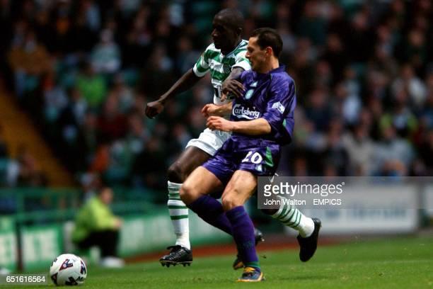 lr Celtic's Momo Sylla battles for possession of the ball with Hibernian's David Zitelli