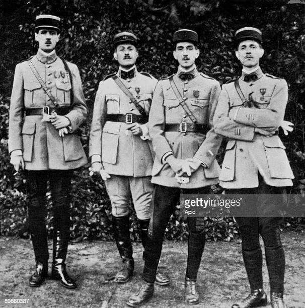 L-r Charles De Gaulle captain in the french army, here with his brothers Jacques , the elder Xavier and the younger Pierre : they meet again in 1919...