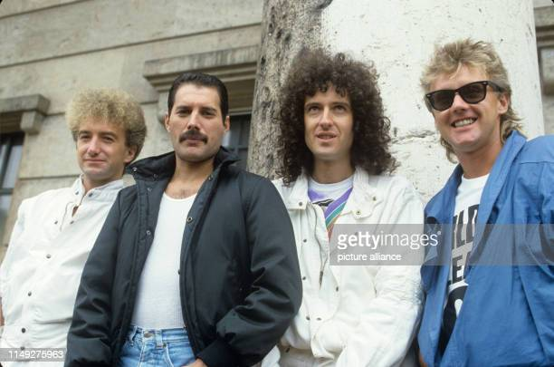 John Deacon, Freddie Mercury, Brian May and Roger Taylor of british rockband Queen on 13 August 1984 in Munich - Germany.